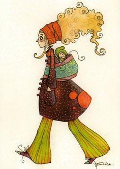 """""""Macha"""", carte postale de la collection des """"Ptites bonne-femmes""""."""