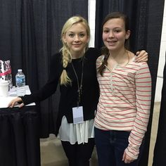 Emily Kinney with a fan Walker Stalker Con 2015