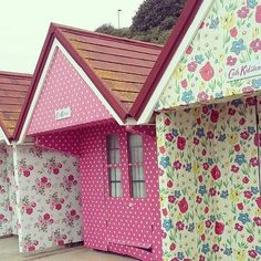 Amazing Cath Kidston Beach Huts at Bournemouth so lucky to be renting this  pink spotty hut for winter months!!!!