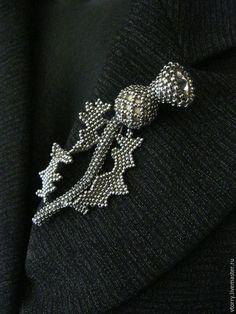 """Купить Брошь """"Чертополох"""" - серебряный, стальной, чертополох, бутон, цветок, брошь-цветок, брошь, металлик"""