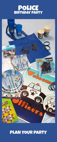 Our full line of police party supplies include tableware, decorations, favors, party signs, and much more. Visit our police theme's page today: http://www.discountpartysupplies.com/boy-party-supplies/police-party-supplies?utm_source=Pinterest&utm_medium=Social&utm_content=police_party_supplies&utm_campaign=police_Promoted_Pin