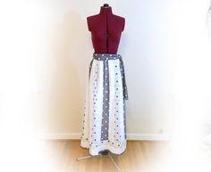 Vintage 70s Long Skirt, Blue and White Polka Dot Patchwork, Alice of California brand, Elastic Waist, Tie Belt, Fully Lined, Fun Maxi Skirt