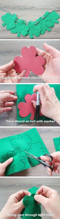 Felt Shamrock Garland | DIY St Patricks Day Decorations Decor Ideas | DIY St Patricks Day Crafts Decoration