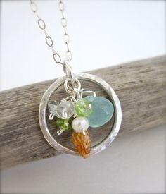 Treasures from the Sea - Summer beach jewelry - Hawaiian shell sterling silver necklace