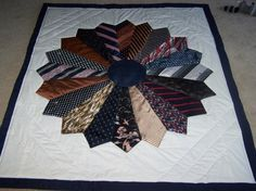 Dresden Plate with neckties project for a pillow using Gramp's old ties