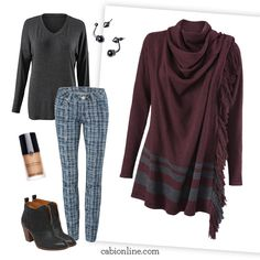 #cabi - Our Sweater Wrap, in a gorgeous heather port hue, is on-trend this fall with fringe details.