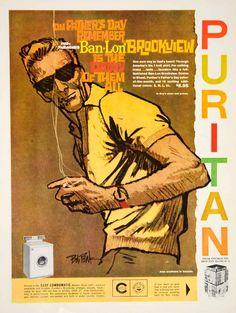 1960 Ad Vintage Puritan Ban-Lon Brookview Polo Shirt Man Men Fashion Bob Peak