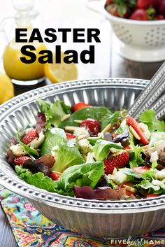 Easter Salad ~ this gorgeous Strawberry Goat Cheese Spring Greens Salad with Toasted Almonds & Lemon Honey Vinaigrette is loaded with vibrant colors a. Easter Dinner Recipes, Easter Brunch, Brunch Recipes, Healthy Dinner Recipes, Easter Salads Ideas, Easter Dinner Ideas, Easter Appetizers, Easter Food, Brunch Salad