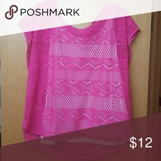 Hot Pink Sports Shirt! Hot Pink shirt with holes over a white cami. Meant to be a sports shirt. Super cute! Worn just once! Chaus Sport Tops