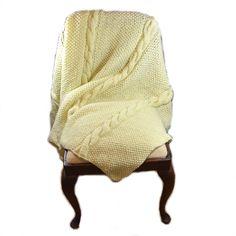Gruby, ciepły koc na drutach ok 150 x 190 cm