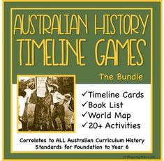 Australian History up to 1900, includes recommended resources, timeline cards, world map and loads of activity and game suggestions. Available for instant download on TpT.