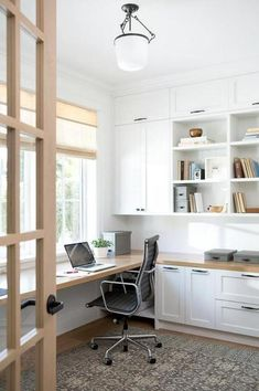 You won't mind getting work done with a home office like one of these. See these 20 inspiring photos for the best decorating and office design ideas for your home office, office furniture, home office ideas Built In Desk, Built In Shelves, Glass Shelves, White Shelves, Desk Shelves, Office Built Ins, Shared Office, Kitchen Shelves, Built In Storage
