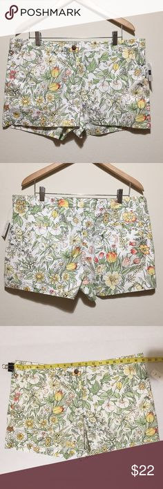 NWT GAP Colorful Floral Summer Shorts. 14 NWT GAP Floral Summer Shorts. 14 Regular. Two front pockets and two back pockets which are still sewed up. Button and zipper. 100% Cotton. GAP Shorts
