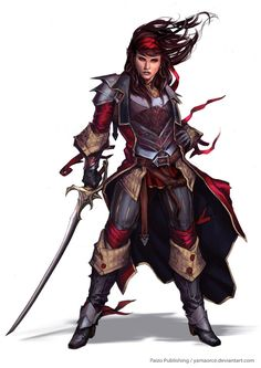 Captain Paracountess Vorrea from Pathfinder Campaign Setting: Ships of the Inner Sea. Art by Yama Orce.
