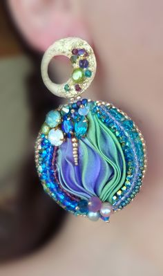 Shibori silk EARRINGS design by Serena Di Mercione - looks like polymer clay w leaf and beads embedded at ear post...