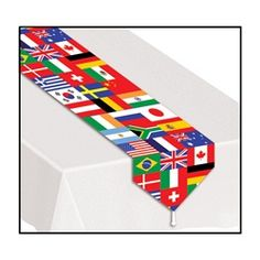 Party Supplies | International Party | International Table Runner...Whether you are teaching students the different flags of countries around the world or are hosting an international party, you can't go wrong with this table runner. Everyone will love seeing the many colors and flags from 24 countries around the world.