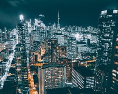 Toronto by night - City at night Canvas Print by Rayowag - MEDIUM Toronto Pictures, Toronto Images, Aerial Photography, Landscape Photography, Building Silhouette, Silhouette Photography, Night City, City Buildings, Landscape Photos