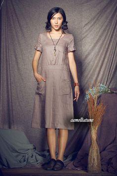 Linen Tunic Dress / Shirt Dress with Pockets - custom made