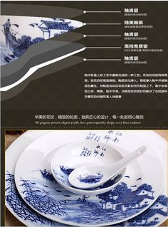 Jingdezhen porcelain and ceramics/Bone China tableware/Bowl dish suits