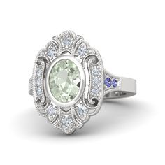 ARYA green amythist and diamond ring on sterling silver