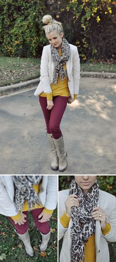 leopard print scarf, mustard yellow top, and burgundy pants Winter Dress Outfits, Fall Winter Outfits, Autumn Winter Fashion, Casual Outfits, Cute Outfits, Dress Winter, Mustard Shirt, Mustard Top, Mustard Sweater Outfit
