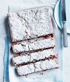 Rhubarb, lime and coconut slice recipe :: Gourmet Traveller Beaux Desserts, Just Desserts, Dessert Recipes, Summer Desserts, Coconut Slice, Coconut Jelly, Rhubarb Recipes, Rhubarb Rhubarb, Cheesecakes
