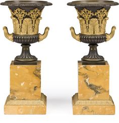 A pair of Louis-Philippe gilt and patinated bronze Medici vases on tall Siena marble bases, 15 inches, c.1850 (est. $5,000 – 8,000)