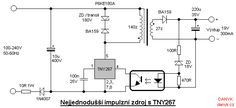 Schematic of switching supply with TNY267 (TNY267P)