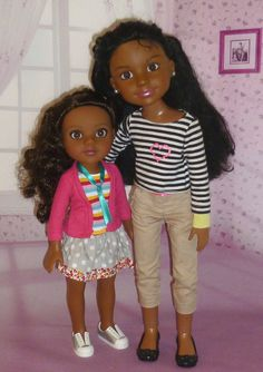 These dolls look nice together as  big sister and little sister. Love it! Hearts for Hearts Nyesha is 14 inches tall and BFC ink Calista is 18 inhces tall.