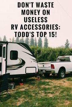 Stop wasting money on useless RV accessories you were told you had to have. After over a year of full time RV living, we know what we need and what we don't. Here are the top 15 RV accessories we recommend (and use daily on our full-time travels) for sewe Rv Camping Tips, Travel Trailer Camping, Camping Essentials, Camping Products, Camping Stuff, Outdoor Camping, Camping Items, Camping Supplies, Camping Cabins
