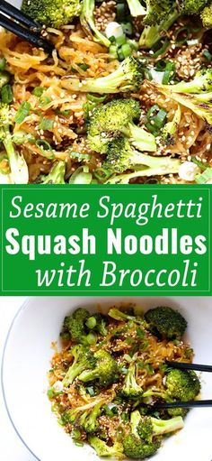 spaghetti squash recipes Sesame Spaghetti Squash Noodles with Broccoli, an easy to prepare, crave-able dish that you will make over and over again. Whole Food Recipes, Diet Recipes, Vegetarian Recipes, Cooking Recipes, Healthy Recipes, Vegan Squash Recipes, Best Spaghetti Squash Recipes, Spaghetti Squash Noodles, Gourmet