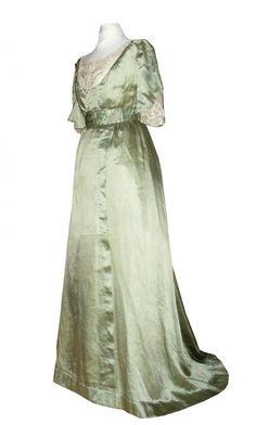 Robe De Jour En Soie Et Dentelle Epoque 1910 , Vert d'Eau , Belle Epoque