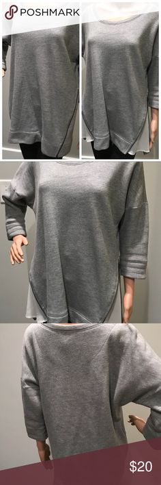 Anthropologie Convertible Short-Sleeve Sweatshirt Wear two ways!!! This sweatshirt by Anthropologie brand, Saturday Sunday, is adorable but does have LOTS of wear and needs to be dry-cleaned (no stains). Please review photos and let me know what question you have. Offers welcome!! Anthropologie Tops