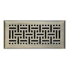 allen + roth Wicker Satin Nickel Steel Floor Register (Rough Opening: 4-in x 12-in; Actual: 5.36-in x 13.37-in)