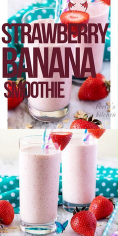 Strawberry Banana Smoothie Healthy Strawberry Banana Smoothie Recipe! Strawberry Banana Smoothie Recipe with Milk. Strawberry Smoothie with Oats. Best smoothie for kids. Food video, recipe video #berlyskitchen<br> This strawberry banana smoothie is the perfect start to your day. It's loaded with fresh bananas and strawberries and sweetened with a touch of honey! Smoothie Recipes For Kids, Breakfast Smoothie Recipes, Good Smoothies, Banana Breakfast, Diabetic Smoothies, Homemade Smoothies, Protein Shake Recipes, Milkshake Recipes, Oatmeal Smoothies