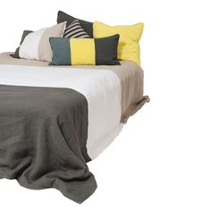 PRECISION BEDDING SET NATURAL. $599.95 AUD. 100% Pre Washed Linen Panelled Bed Spread - Large 270x260cm and 100% Pre Washed Linen Panelled Pillow Case x 2 - 50x75cm.  Colour: Natural.