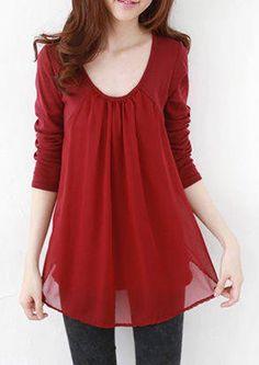 Casual Style Scoop Collar Chiffon Splicing Long Sleeve Women's T-Shirt