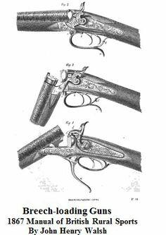 1867     Breech Loading Guns.                               From: Manual of British Rural Sports By John Henry Walsh.   Via    Google Books      (PD-100)                      suzilove.com