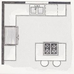 L Shape. With workstations on two adjacent walls, this plan adds an island. It works best in a 10x10-foot or larger room and makes space for a second cook. It should route traffic out of the L's crook.