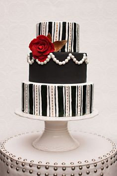 black and white, cake, stripe, red flower, pearls, modern, classic,