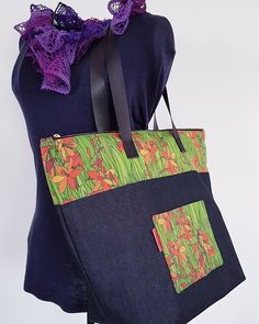 "Large Zipped Tote Bag featuring Copper Catkin fabric - ""Montbretia"" by www.zankyocraft.com #madebyastressednurse"