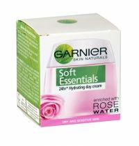 Garnier Soft Essentials Hydrating Day Cream 50ml Dry And Sensitive Skin The smooth creamy texture has a delicate rose fragrance and nourishes skin without leaving it feeling greasy, offering an instant feeling of wellbeing. Specially formulated for dry and sensitive skin, the formula combines ingredients that work to soothe and nourish skin.
