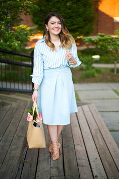 Mae Amor- light blue midi skirt, Schutz lace up sandal, striped button down, nude bag