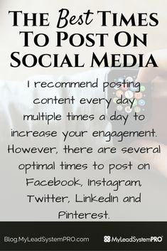 There are several optimal times to post on Facebook, Instagram, Twitter, LinkedIn and Pinterest. These times should be used as a general guide for the best interaction periods on your posts.