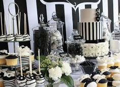 Black and white chic dessert table by life is sweet candy buffets black and White Dessert Tables, Buffet Dessert, Lolly Buffet, White Desserts, White Buffet, Black White Parties, Black And White Baby, Black Party, Adult Party Themes