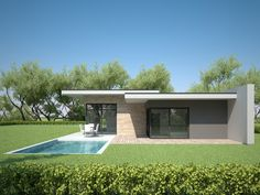 This modern design floor plan is 1716 sq ft and has 3 bedrooms and has 2 bathrooms. Modern House Facades, Modern Bungalow House, Bungalow House Plans, New House Plans, Modern House Plans, Flat Roof House Designs, Modern Exterior House Designs, Exterior Design, House Roof