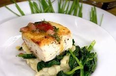 halibut, lemon mashed potatoes and garlic spinach
