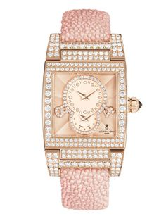 de GRISOGONO's Instrumentino S20 watch comes in polished 18ct pink gold set with white diamonds and pastel pink galuchat strap with a polished 18ct pink gold butterfly buckle.