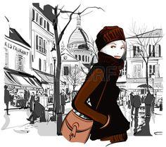 Woman in Montmartre square Paris - Vector illustration