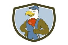 Bald Eagle Plumber Plunger Crest Cartoon Illustration of an american bald eagle plumber wearing overalls and hat holding plunger with one hand on hips looking to the side set inside shield crest done in cartoon style. #illustration #BaldEaglePlumber